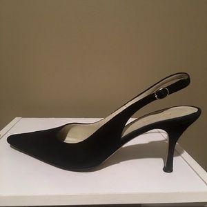 Anne Klein Women Blk Brushed Leather Kitten Heels